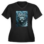 Snow Leopard Women's Plus Size V-Neck Dark T-Shirt