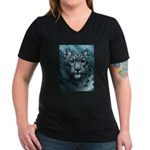 Snow Leopard Women's V-Neck Dark T-Shirt