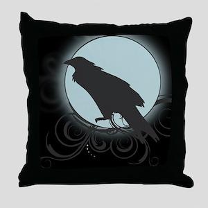 Raven Silhouette Throw Pillow in Grey