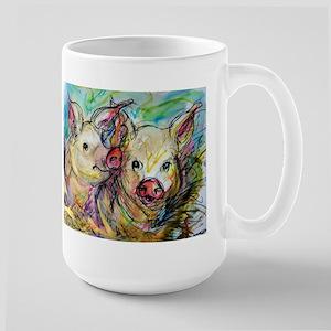 Pig, Couple, Cute, Large Mug
