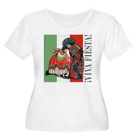 VIVA FIESTA Women's Plus Size Scoop Neck T-Shirt