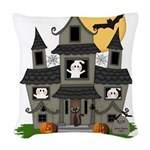 Halloween Haunted House Ghosts Woven Throw Pillow