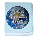 Living With Nature Quote baby blanket
