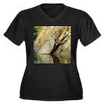 Pond Turtle Basking Women's Plus Size V-Neck Dark