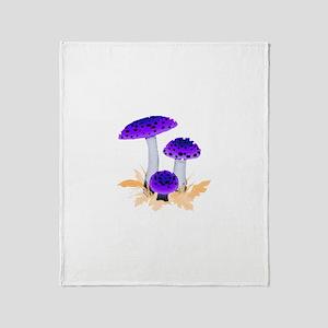 Purple Mushrooms Throw Blanket