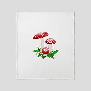 Red Mushrooms Throw Blanket