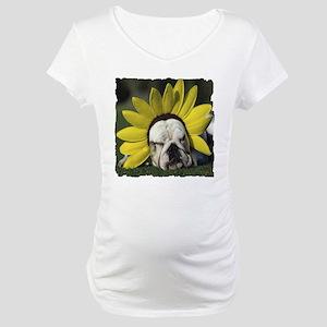 BULLDOG SUNFLOWER Maternity T-Shirt