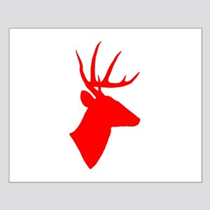 Bright Red Deer Silhouette Small Poster