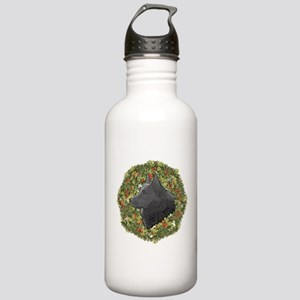 Schipperke Xmas Wreath Stainless Water Bottle 1.0L