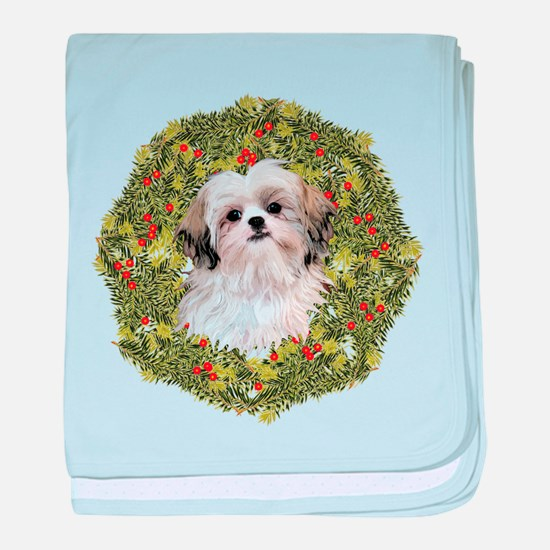 Shih Tzu Xmas Wreath baby blanket