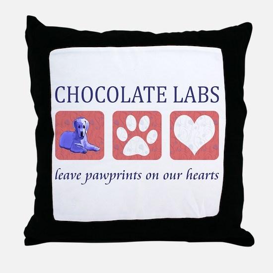 Chocolate Lab Pawprints Throw Pillow