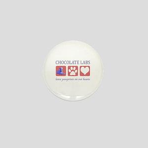 Chocolate Lab Pawprints Mini Button