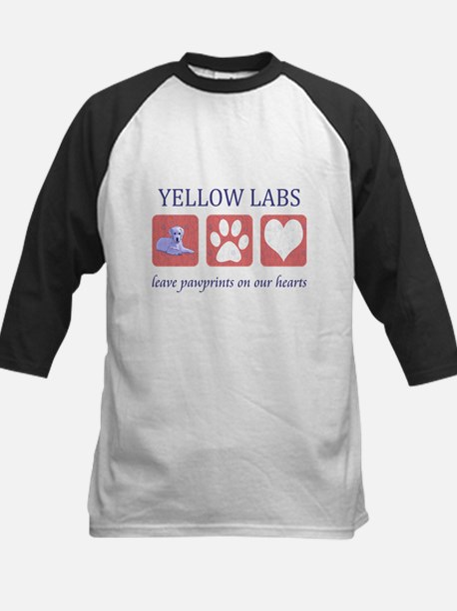 Yellow Lab Pawprints Kids Baseball Jersey
