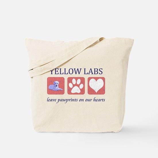 Yellow Lab Pawprints Tote Bag