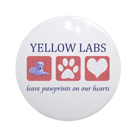 Yellow Lab Pawprints Ornament (Round)