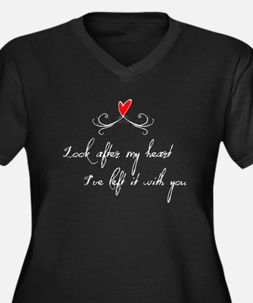 Look After Heart Women's Plus Size V-Neck Dark T-S