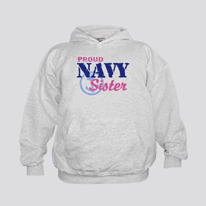 Proud Navy Sister Kids Hoodie