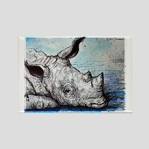 Wildlife, Rhino, Rectangle Magnet