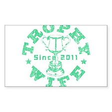 Trophy Wife Since 2011 mint green Sticker (Rectang