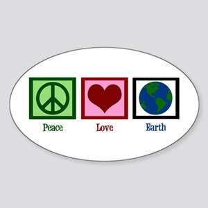 Peace Love Earth Sticker (Oval)