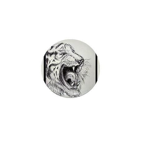Growling, Tiger, Mini Button