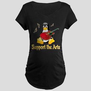 Support The Arts Cute Penguin Maternity Dark T-Shi