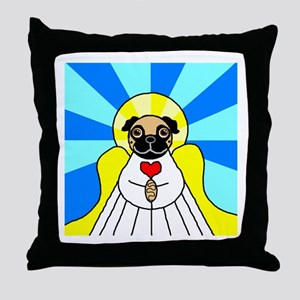 Pug Angel - Fawn Throw Pillow
