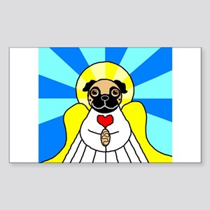 Pug Angel - Fawn Sticker (Rectangle)