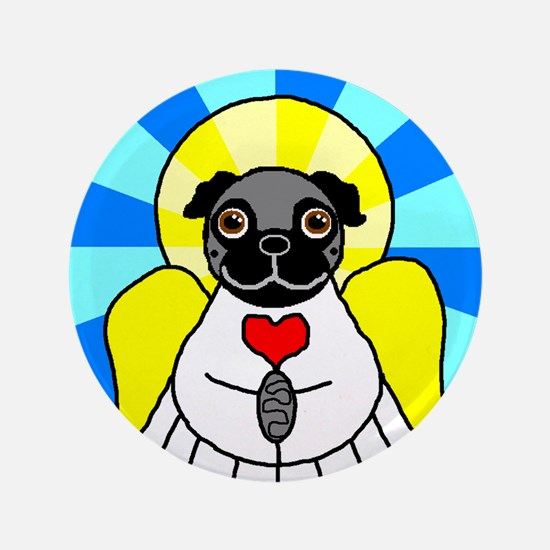 "Pug Angel - Black 3.5"" Button"