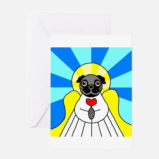 Pug Angel - Black Greeting Card