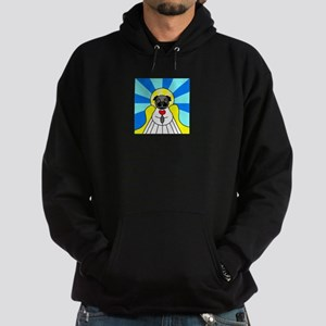 Pug Angel - Black Hoodie (dark)