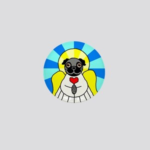 Pug Angel - Black Mini Button