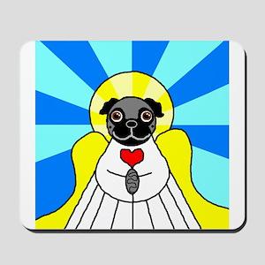 Pug Angel - Black Mousepad