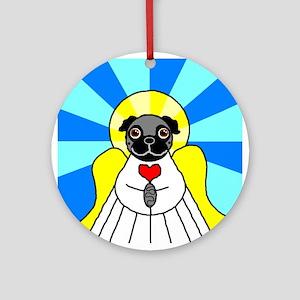 Pug Angel - Black Ornament (Round)