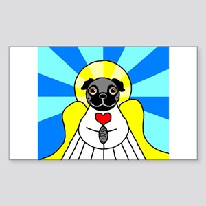 Pug Angel - Black Sticker (Rectangle)