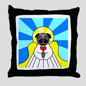 Pug Angel - Black Throw Pillow