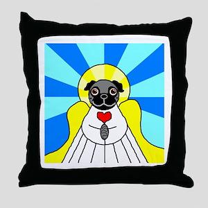 Pug Angel - Black Throw Pillow