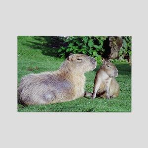 Capybara Mom and Son Rectangle Magnet