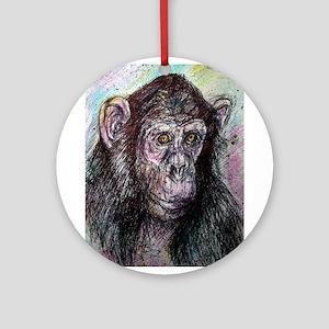 Chimp, striking, adorable, Ornament (Round)