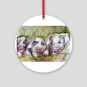 Three Little Pigs, Cute, Ornament (Round)