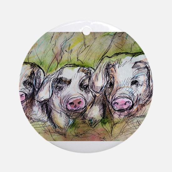 Three Little Pigs, Cute, Ornament (Round)