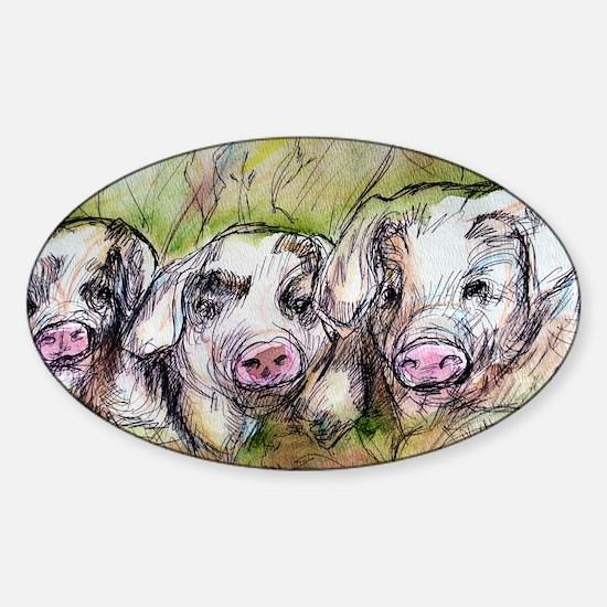 Three Little Pigs, Cute, Sticker (Oval)