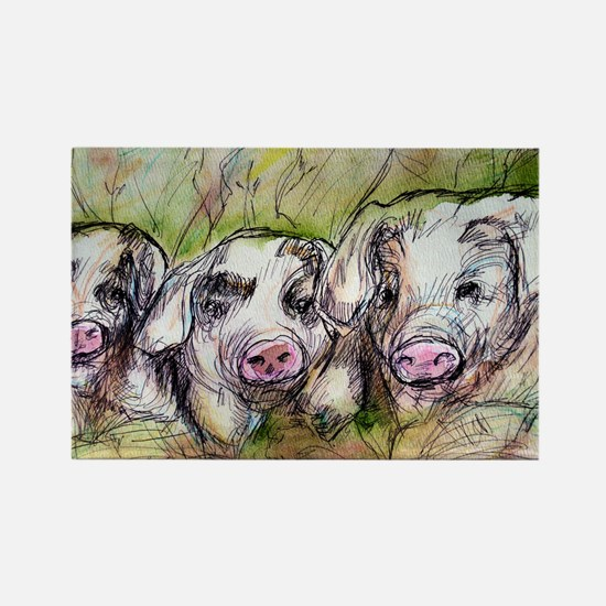 Three Little Pigs, Cute, Rectangle Magnet