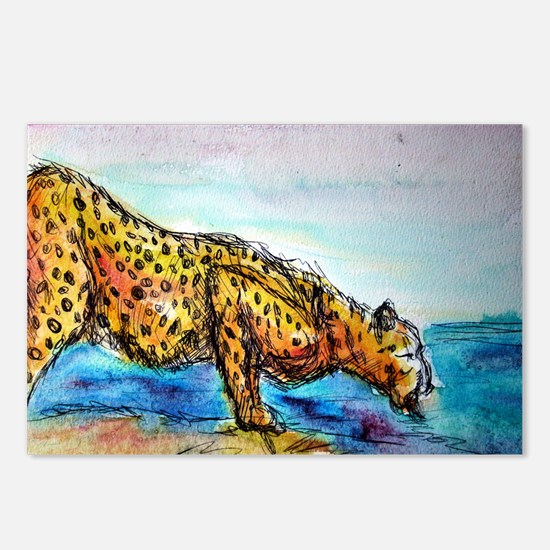 Cheetah, colorful, big, cat, Postcards (Package of
