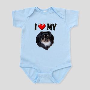 I Love My Pekingese (black) Infant Bodysuit