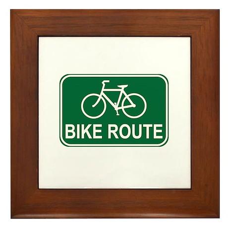 Bike Route Sign Framed Tile