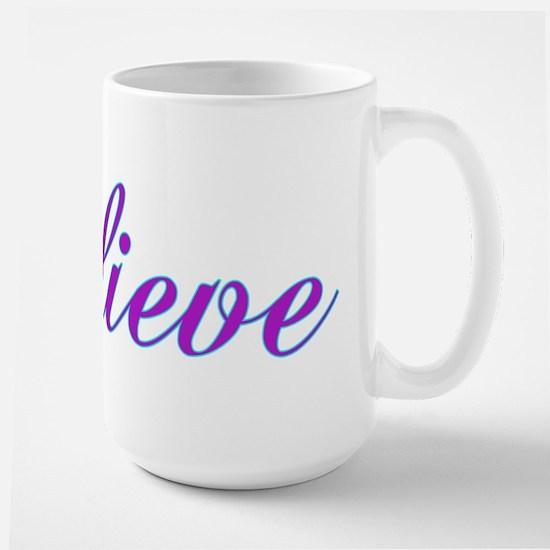 Believe Gifts in Purple & Teal Large Mug