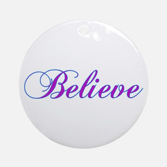 Believe Gifts in Purple & Teal Ornament (Round