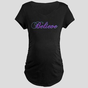 Believe Gifts in Purple & Teal Maternity Dark T-Sh