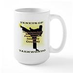 Traditional Taekwondo Tenets Gold Large Mug
